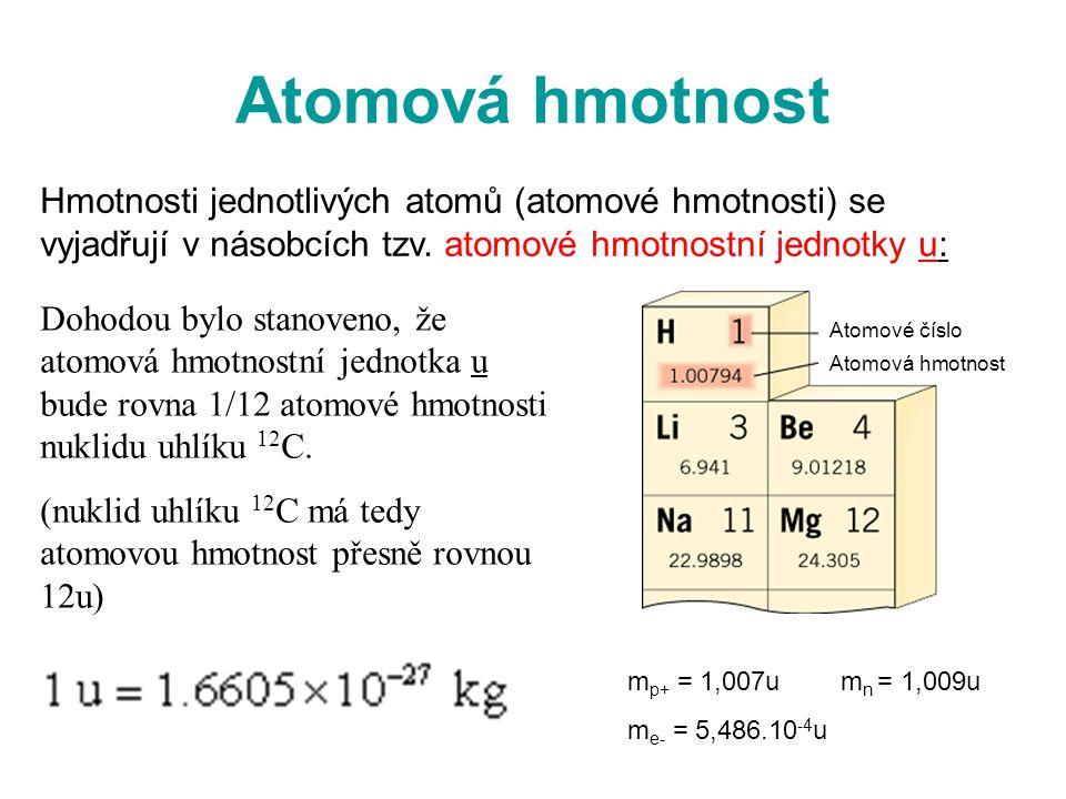 Atomová hmotnost Dohodou bylo stanoveno, že atomová hmotnostní jednotka u bude rovna 1/12 atomové hmotnosti nuklidu uhlíku 12 C. (nuklid uhlíku 12 C m