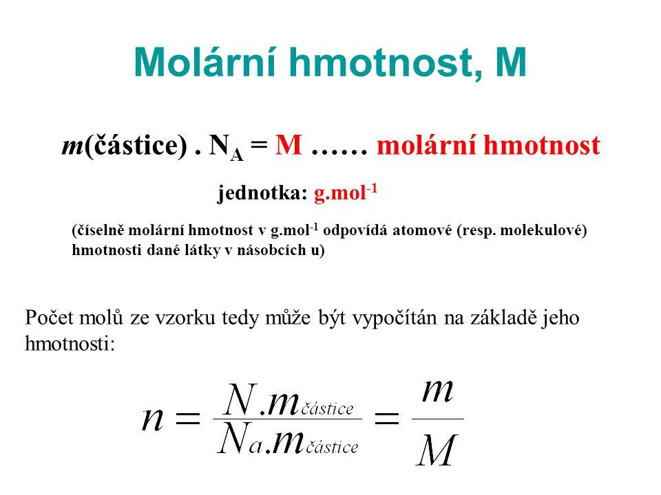 Molární hmotnost, M Počet molů ze vzorku tedy může být vypočítán na základě jeho hmotnosti: m(částice). N A = M …… molární hmotnost jednotka: g.mol -1