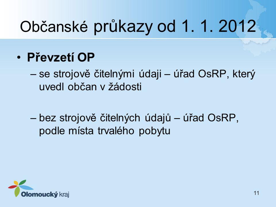 Občanské průkazy od 1. 1. 2012 Převzetí OP –se strojově čitelnými údaji – úřad OsRP, který uvedl občan v žádosti –bez strojově čitelných údajů – úřad
