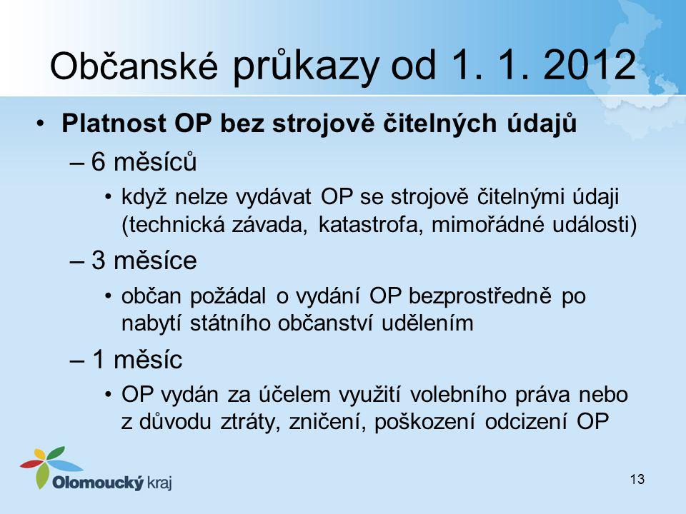 Občanské průkazy od 1. 1. 2012 Platnost OP bez strojově čitelných údajů –6 měsíců když nelze vydávat OP se strojově čitelnými údaji (technická závada,
