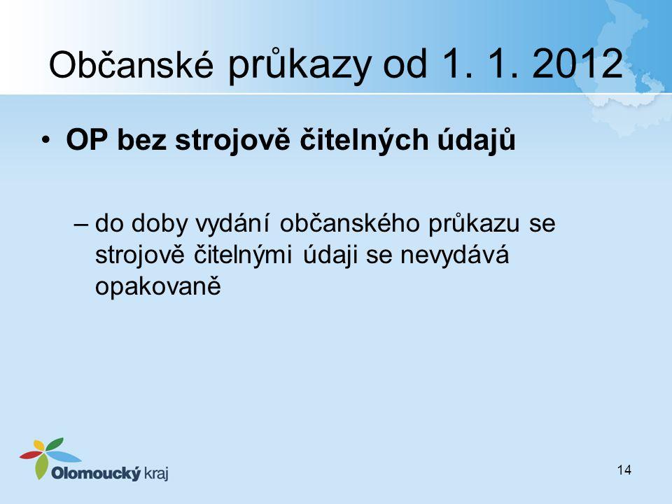 Občanské průkazy od 1. 1. 2012 OP bez strojově čitelných údajů –do doby vydání občanského průkazu se strojově čitelnými údaji se nevydává opakovaně 14