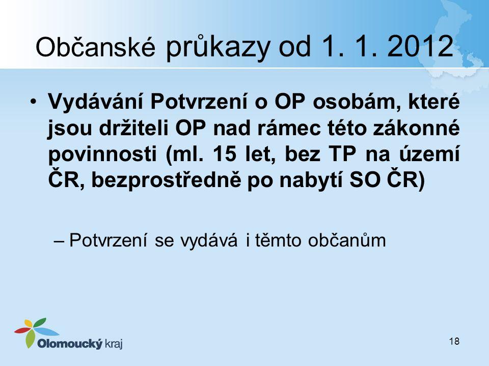 Občanské průkazy od 1. 1. 2012 Vydávání Potvrzení o OP osobám, které jsou držiteli OP nad rámec této zákonné povinnosti (ml. 15 let, bez TP na území Č