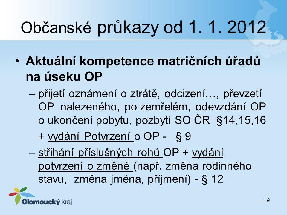 Občanské průkazy od 1. 1. 2012 Aktuální kompetence matričních úřadů na úseku OP –přijetí oznámení o ztrátě, odcizení…, převzetí OP nalezeného, po zemř