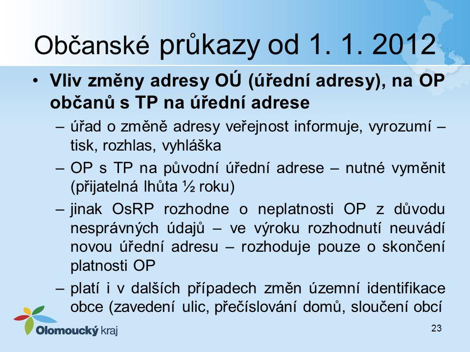 Občanské průkazy od 1. 1. 2012 Vliv změny adresy OÚ (úřední adresy), na OP občanů s TP na úřední adrese –úřad o změně adresy veřejnost informuje, vyro