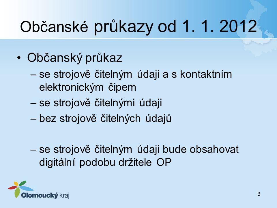 Občanské průkazy od 1. 1. 2012 Občanský průkaz –se strojově čitelným údaji a s kontaktním elektronickým čipem –se strojově čitelnými údaji –bez strojo