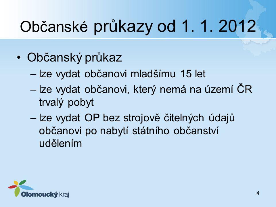 Občanské průkazy od 1. 1. 2012 Občanský průkaz –lze vydat občanovi mladšímu 15 let –lze vydat občanovi, který nemá na území ČR trvalý pobyt –lze vydat
