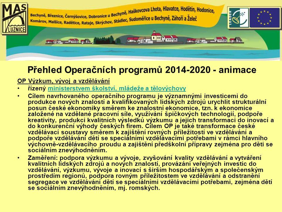Přehled Operačních programů 2014-2020 - animace OP Výzkum, vývoj a vzdělávání řízený ministerstvem školství, mládeže a tělovýchovyministerstvem školství, mládeže a tělovýchovy Cílem navrhovaného operačního programu je významnými investicemi do produkce nových znalostí a kvalifikovaných lidských zdrojů urychlit strukturální posun české ekonomiky směrem ke znalostní ekonomice, tzn.