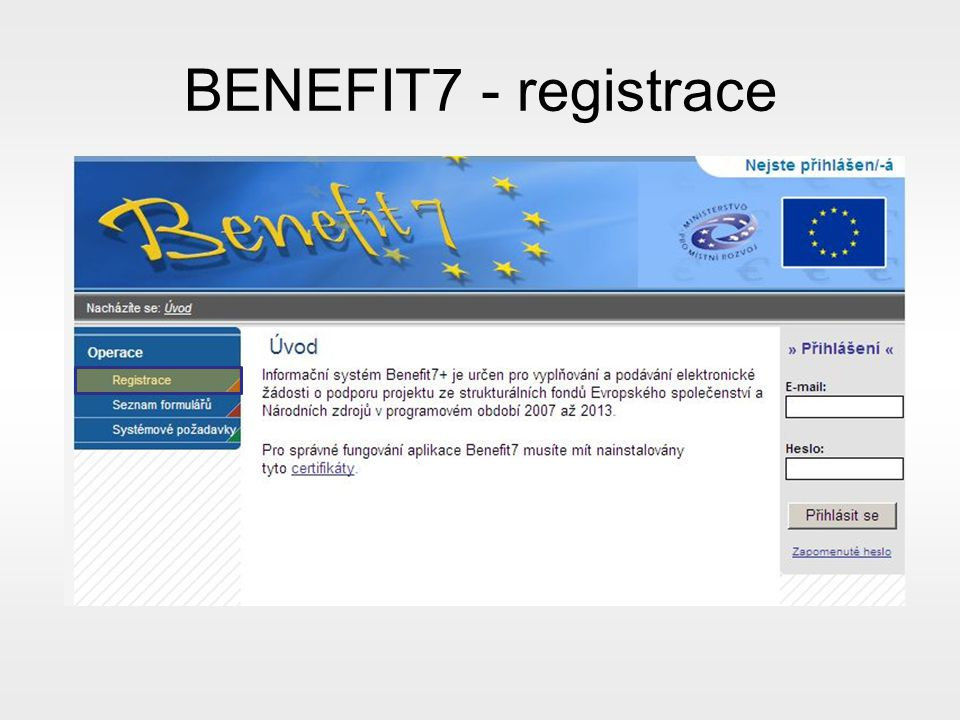 BENEFIT7 - registrace