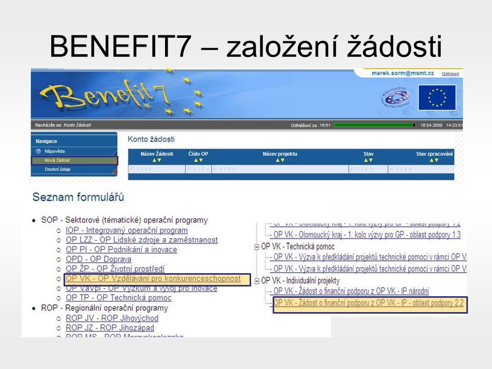 BENEFIT7 – založení žádosti