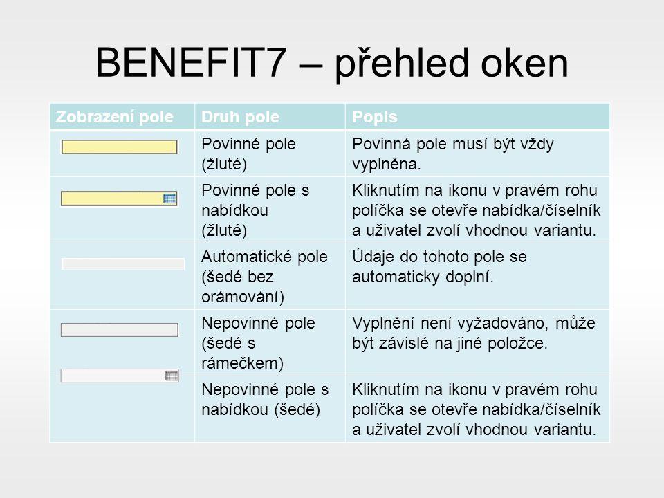 BENEFIT7 – přehled oken Zobrazení poleDruh polePopis Povinné pole (žluté) Povinná pole musí být vždy vyplněna.