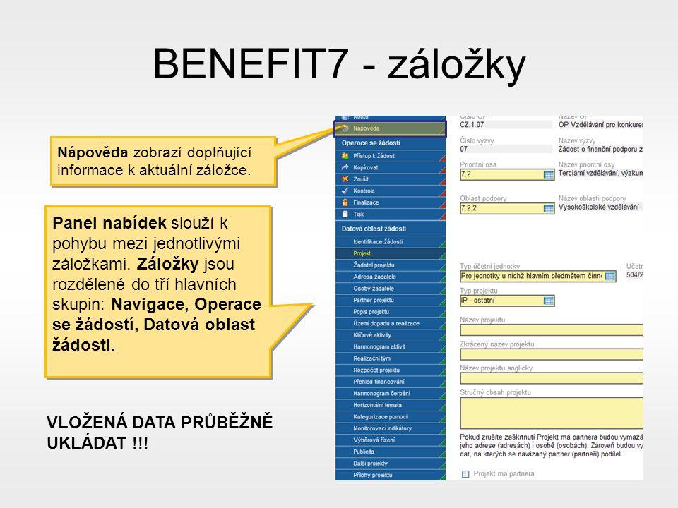 BENEFIT7 - záložky Panel nabídek slouží k pohybu mezi jednotlivými záložkami.