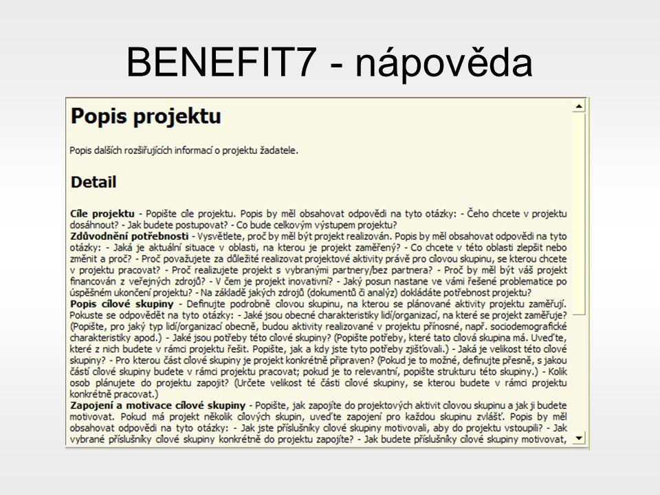 BENEFIT7 - nápověda