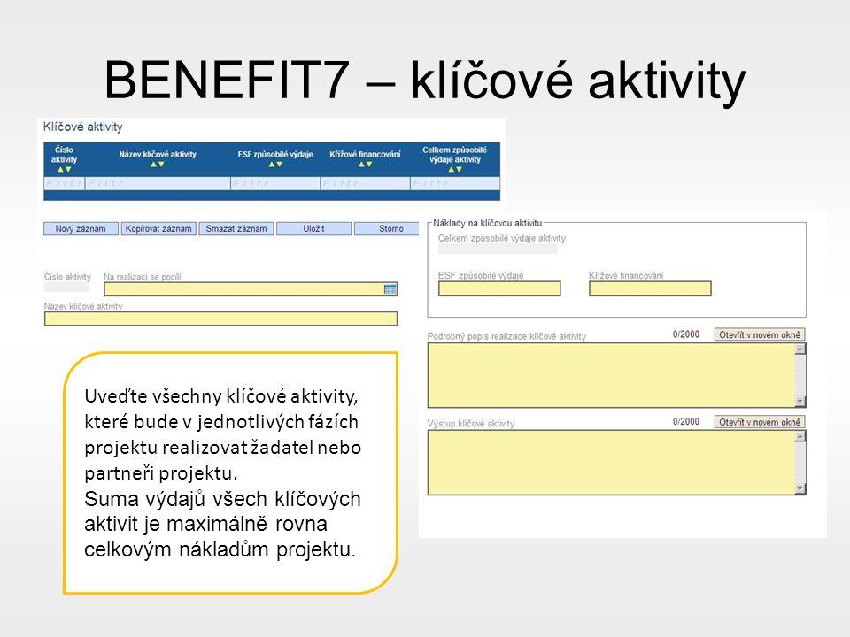 BENEFIT7 – klíčové aktivity Uveďte všechny klíčové aktivity, které bude v jednotlivých fázích projektu realizovat žadatel nebo partneři projektu.