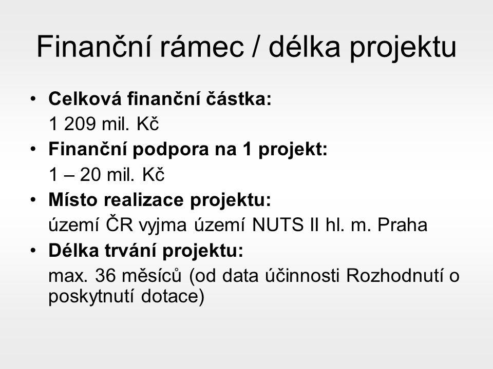 Finanční rámec / délka projektu Celková finanční částka: 1 209 mil.
