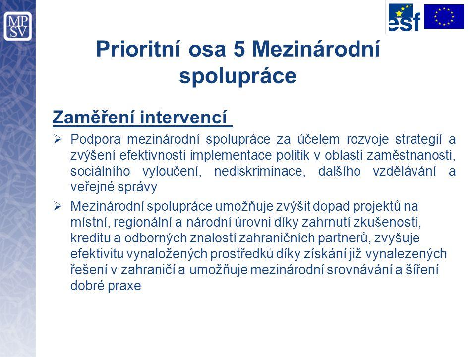 Prioritní osa 5 Mezinárodní spolupráce Zaměření intervencí  Podpora mezinárodní spolupráce za účelem rozvoje strategií a zvýšení efektivnosti impleme