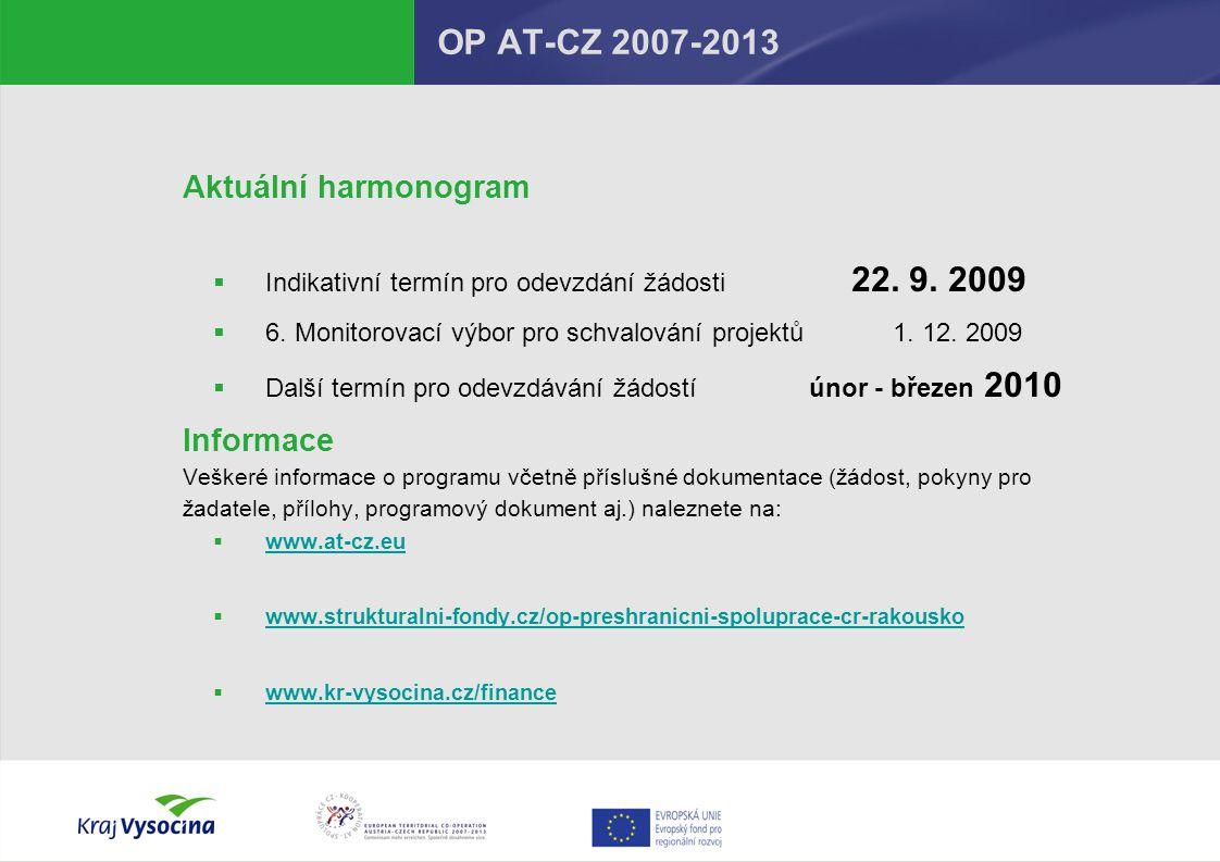 OP AT-CZ 2007-2013 Aktuální harmonogram  Indikativní termín pro odevzdání žádosti 22.