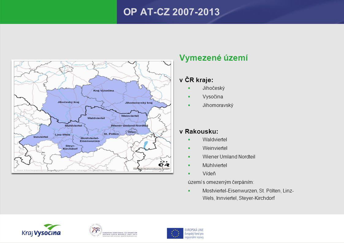 OP AT-CZ 2007-2013 Financování  Maximální dotaze z ERDF85%  Maximální dotace ze SR 5% celkem dotace:90%  Maximální výše podpory z ERDFnení určena  Minimální výše projektu (podpora z ERDF) 20 000 EUR  Menší projekty (< 20.000 EUR)Fond malých projektů (RRAV)  Podpora z ERDF – vyplácena zpětně – průběžné financování (musí být zajištěno spolufinancování projektu, tj.