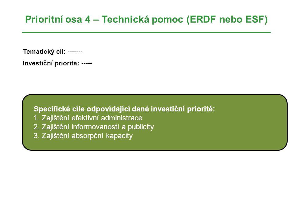 Prioritní osa 4 – Technická pomoc (ERDF nebo ESF) Tematický cíl: ------- Investiční priorita: ----- Specifické cíle odpovídající dané investiční prioritě: 1.