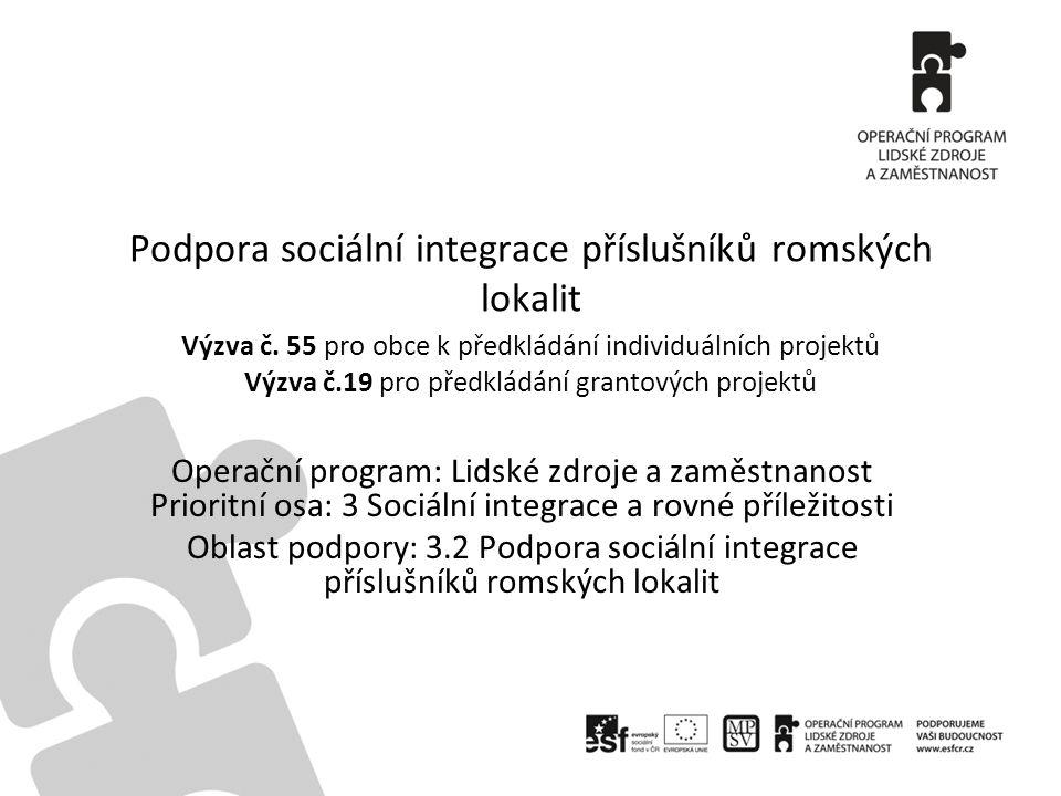 Podpora sociální integrace příslušníků romských lokalit Výzva č. 55 pro obce k předkládání individuálních projektů Výzva č.19 pro předkládání grantový