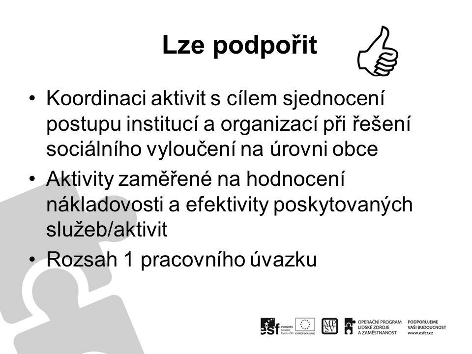 Lze podpořit Koordinaci aktivit s cílem sjednocení postupu institucí a organizací při řešení sociálního vyloučení na úrovni obce Aktivity zaměřené na