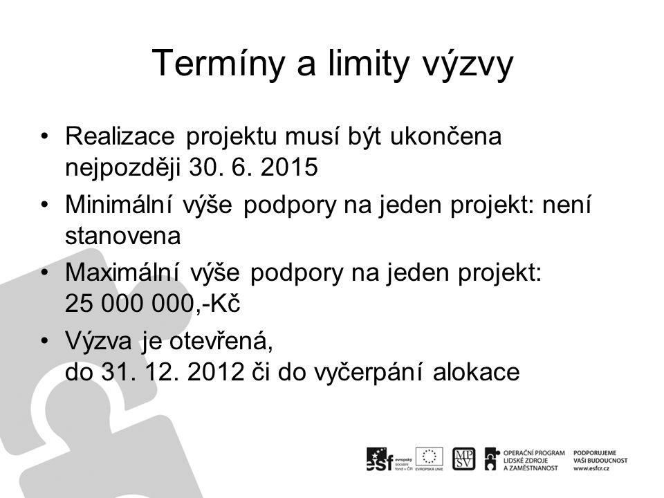 Termíny a limity výzvy Realizace projektu musí být ukončena nejpozději 30. 6. 2015 Minimální výše podpory na jeden projekt: není stanovena Maximální v