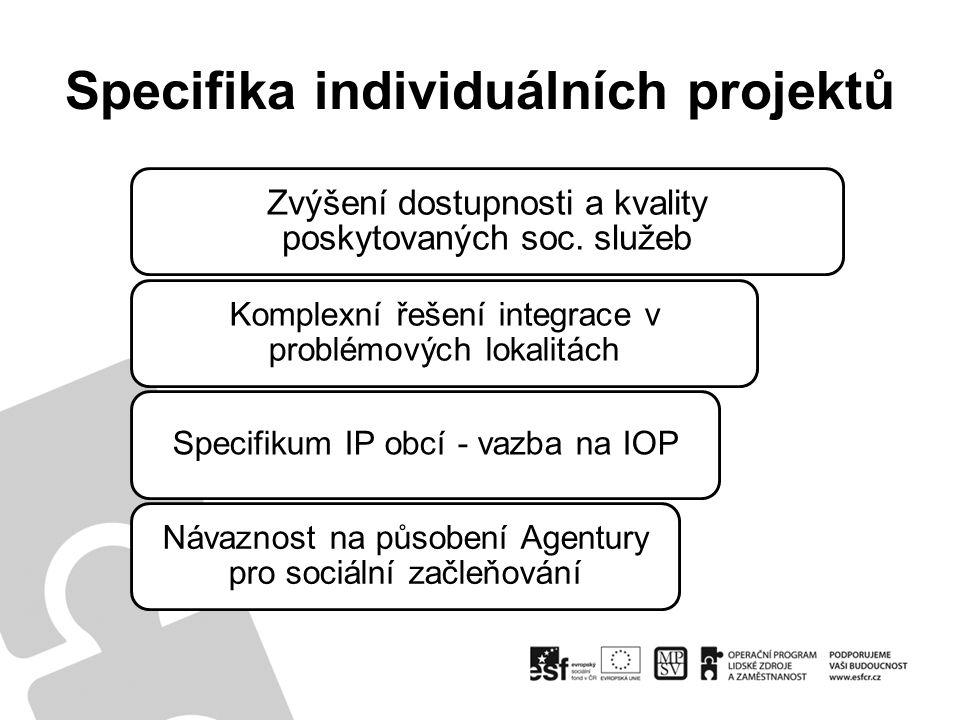 Specifika individuálních projektů Zvýšení dostupnosti a kvality poskytovaných soc. služeb Komplexní řešení integrace v problémových lokalitách Specifi