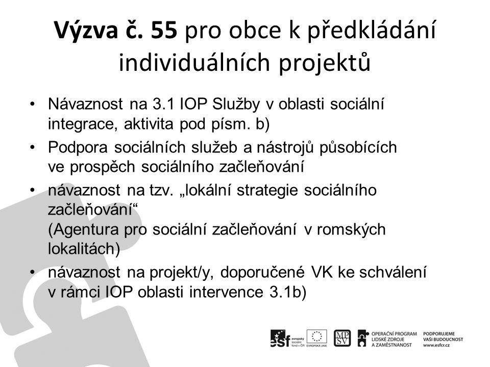 Výzva č. 55 pro obce k předkládání individuálních projektů Návaznost na 3.1 IOP Služby v oblasti sociální integrace, aktivita pod písm. b) Podpora soc