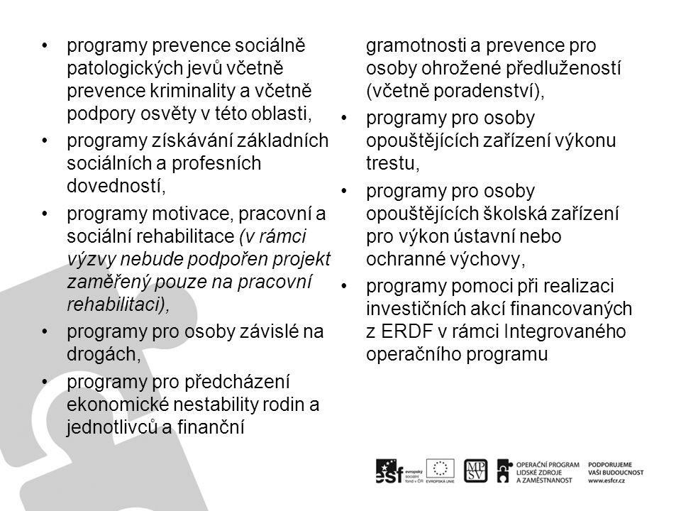 programy prevence sociálně patologických jevů včetně prevence kriminality a včetně podpory osvěty v této oblasti, programy získávání základních sociál