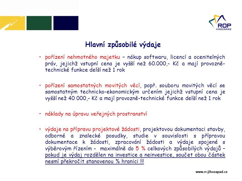 www.rr-jihozapad.cz www.rr-jihozapad.cz pořízení nehmotného majetku – nákup softwaru, licencí a ocenitelných práv, jejichž vstupní cena je vyšší než 60.000,- Kč a mají provozně- technické funkce delší než 1 rok pořízení samostatných movitých věcí, popř.