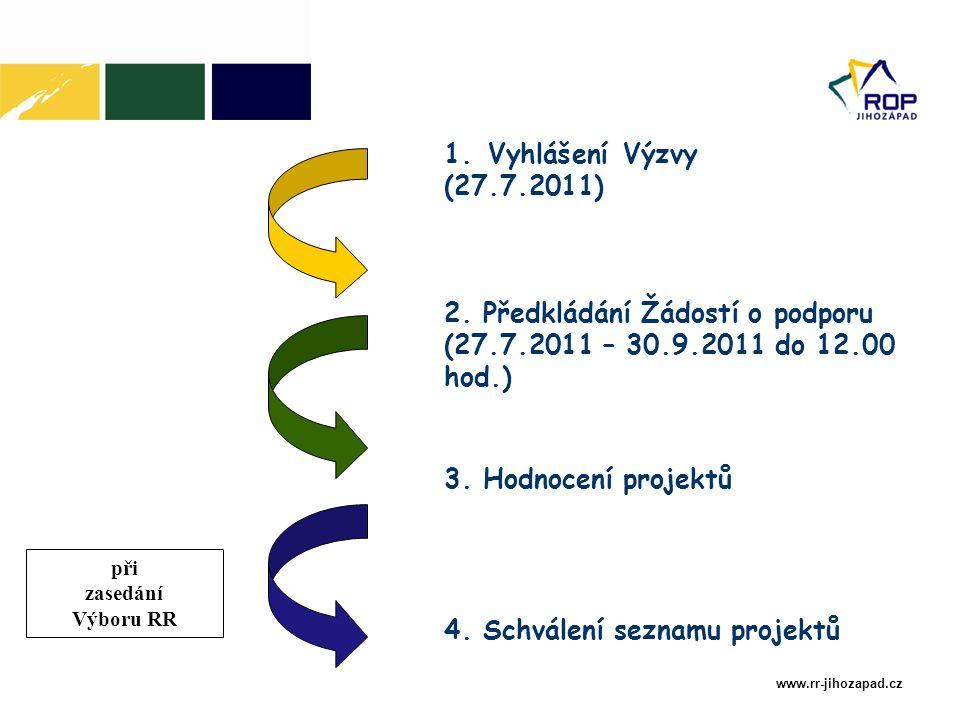 www.rr-jihozapad.cz 1. Vyhlášení Výzvy (27.7.2011) 2.