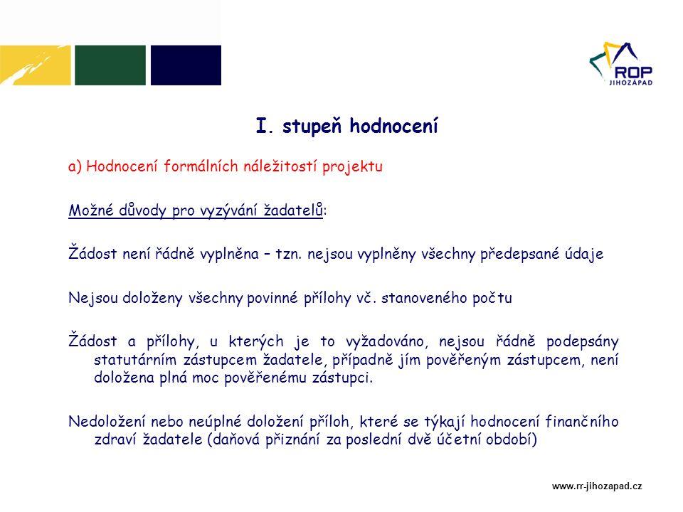 www.rr-jihozapad.cz a) Hodnocení formálních náležitostí projektu Možné důvody pro vyzývání žadatelů: Žádost není řádně vyplněna – tzn.