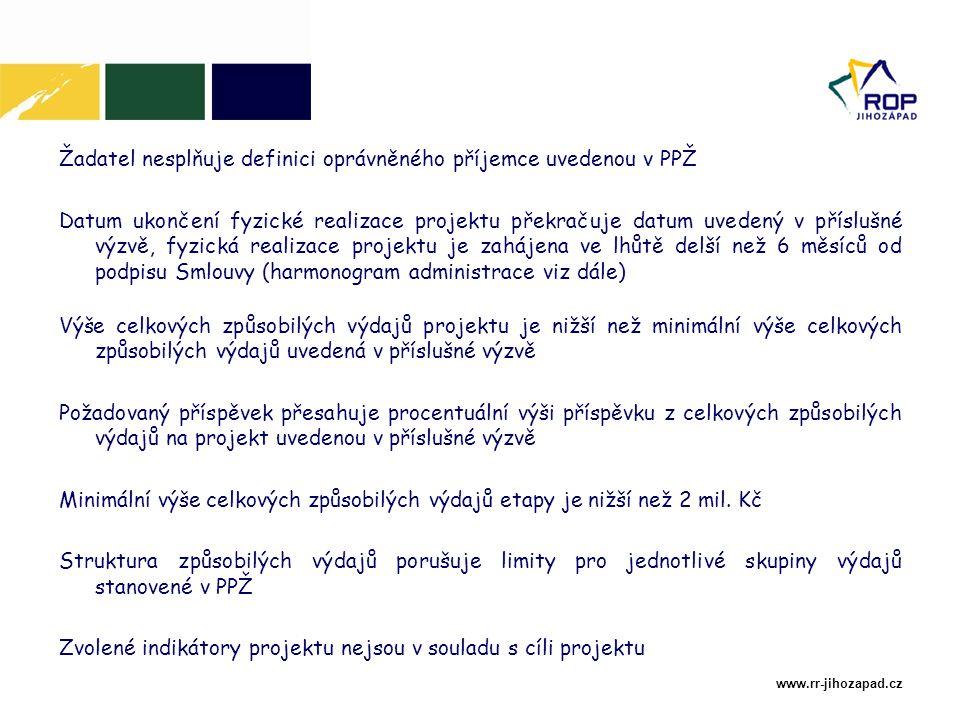 www.rr-jihozapad.cz Žadatel nesplňuje definici oprávněného příjemce uvedenou v PPŽ Datum ukončení fyzické realizace projektu překračuje datum uvedený v příslušné výzvě, fyzická realizace projektu je zahájena ve lhůtě delší než 6 měsíců od podpisu Smlouvy (harmonogram administrace viz dále) Výše celkových způsobilých výdajů projektu je nižší než minimální výše celkových způsobilých výdajů uvedená v příslušné výzvě Požadovaný příspěvek přesahuje procentuální výši příspěvku z celkových způsobilých výdajů na projekt uvedenou v příslušné výzvě Minimální výše celkových způsobilých výdajů etapy je nižší než 2 mil.