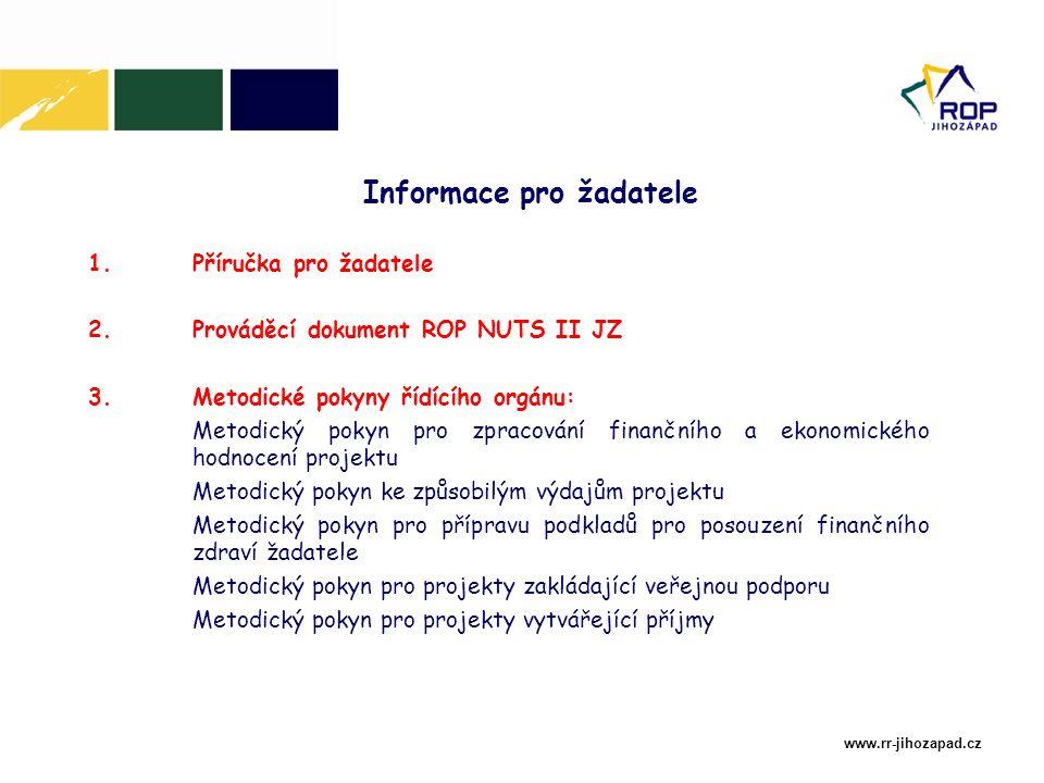 www.rr-jihozapad.cz 1.Příručka pro žadatele 2.