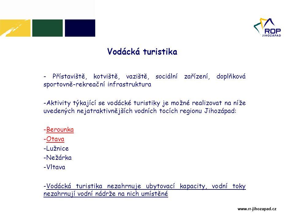 www.rr-jihozapad.cz www.rr-jihozapad.cz Vodácká turistika - Přístaviště, kotviště, vaziště, sociální zařízení, doplňková sportovně-rekreační infrastruktura -Aktivity týkající se vodácké turistiky je možné realizovat na níže uvedených nejatraktivnějších vodních tocích regionu Jihozápad: -Berounka -Otava -Lužnice -Nežárka -Vltava -Vodácká turistika nezahrnuje ubytovací kapacity, vodní toky nezahrnují vodní nádrže na nich umístěné