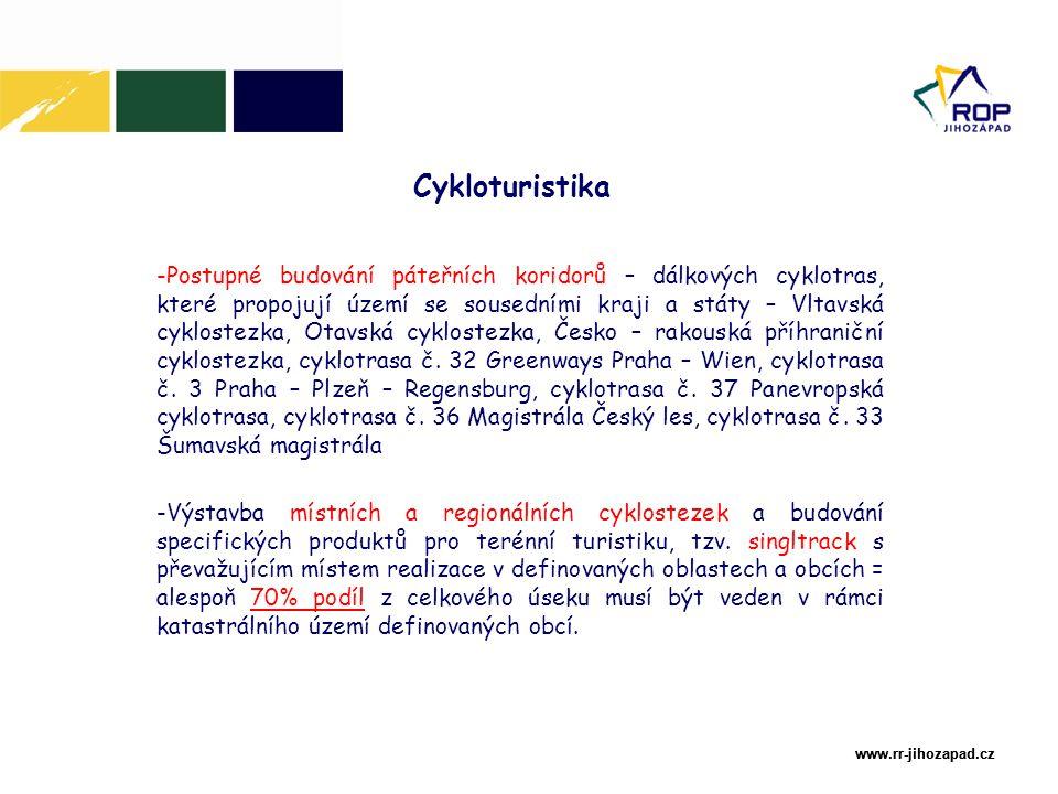 www.rr-jihozapad.cz www.rr-jihozapad.cz Cykloturistika V souvislosti s touto aktivitou lze podpořit i tzv.