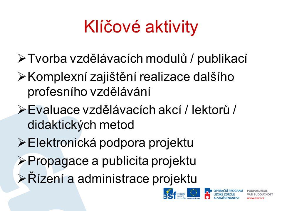Tvorba vzdělávacích modulů / publikací  cíl – vytvoření vzdělávacích modulů za pomoci poradních orgánů (tj.