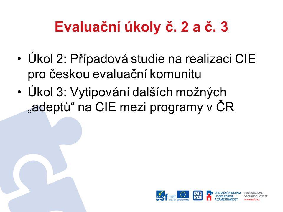 """Evaluační úkoly č. 2 a č. 3 Úkol 2: Případová studie na realizaci CIE pro českou evaluační komunitu Úkol 3: Vytipování dalších možných """"adeptů"""" na CIE"""