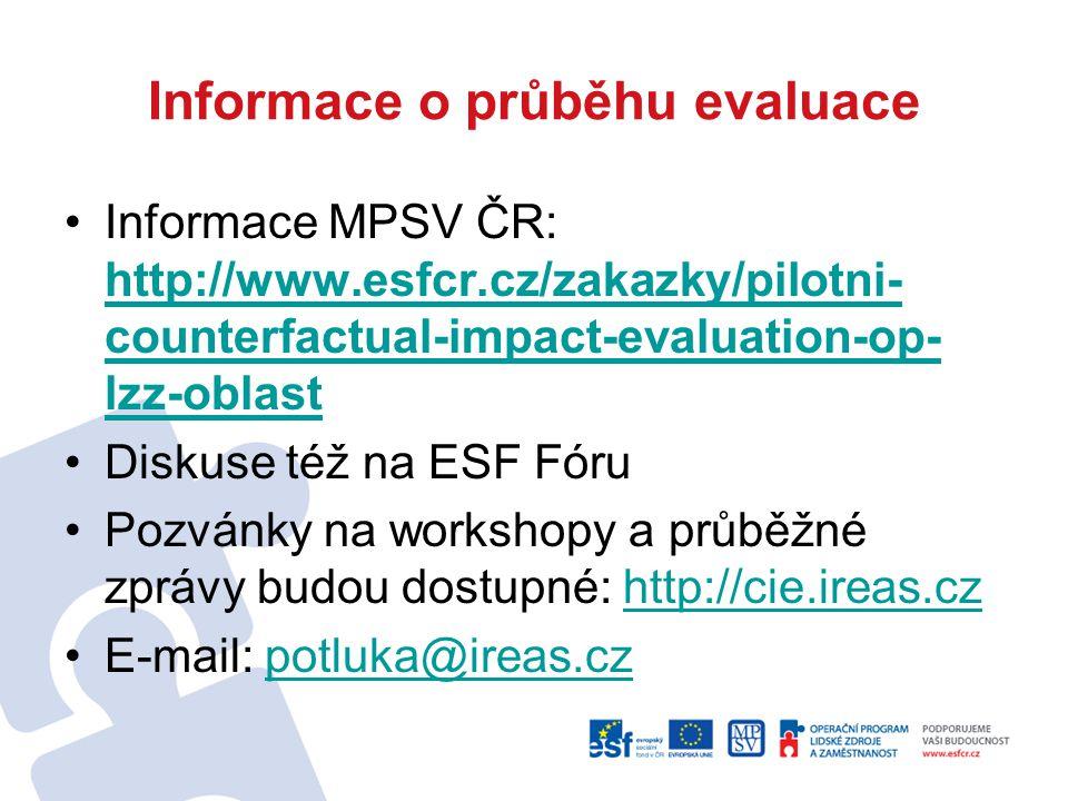 Informace o průběhu evaluace Informace MPSV ČR: http://www.esfcr.cz/zakazky/pilotni- counterfactual-impact-evaluation-op- lzz-oblast http://www.esfcr.