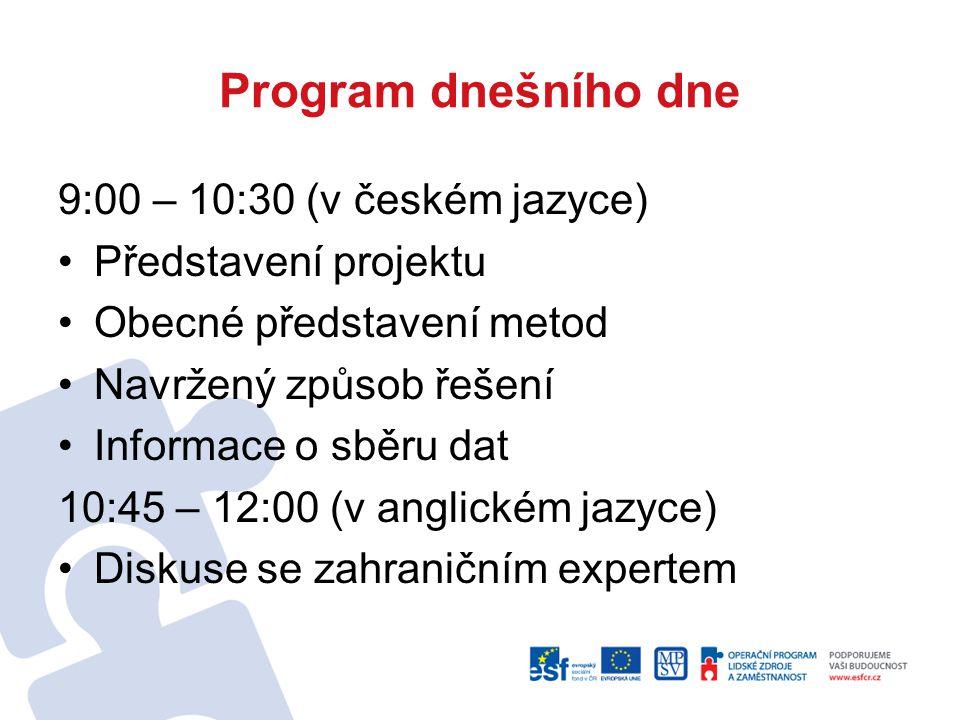 Program dnešního dne 9:00 – 10:30 (v českém jazyce) Představení projektu Obecné představení metod Navržený způsob řešení Informace o sběru dat 10:45 –