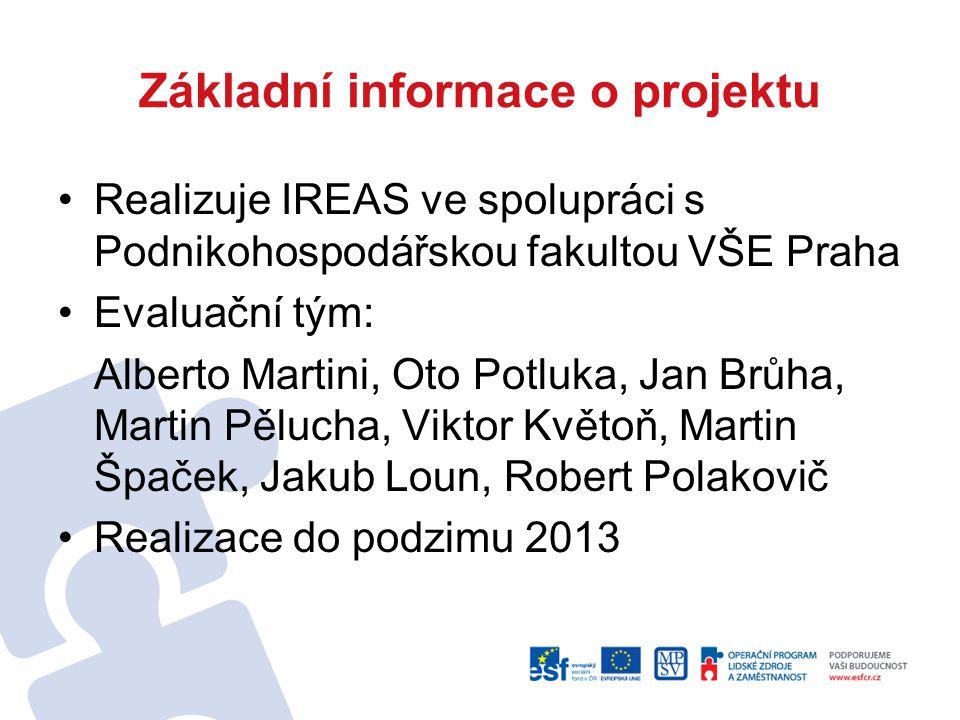 Základní informace o projektu Realizuje IREAS ve spolupráci s Podnikohospodářskou fakultou VŠE Praha Evaluační tým: Alberto Martini, Oto Potluka, Jan