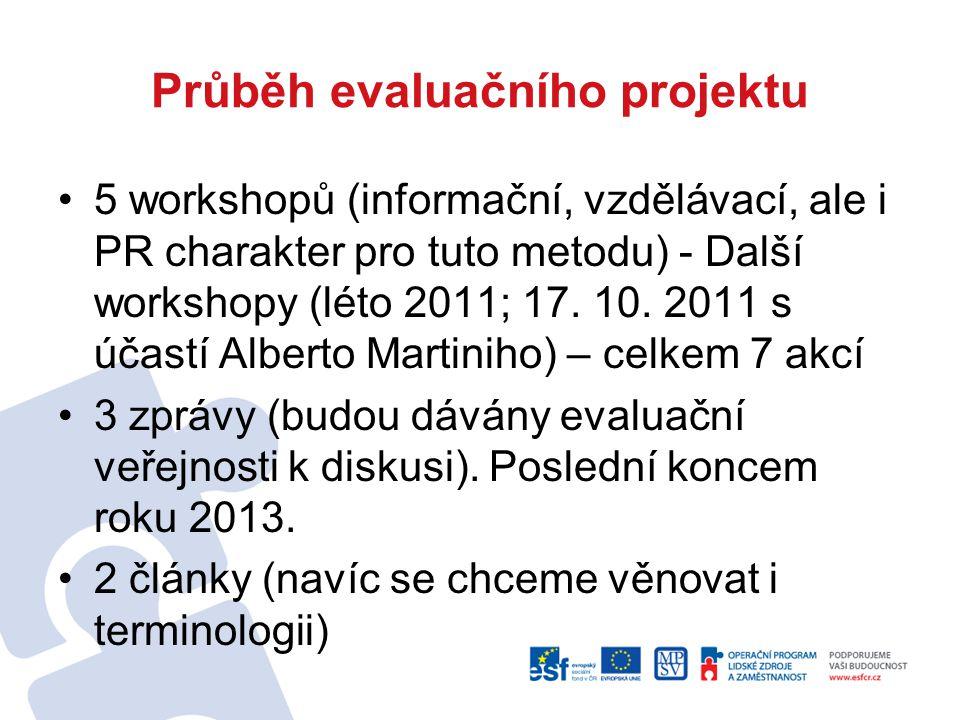 Průběh evaluačního projektu 5 workshopů (informační, vzdělávací, ale i PR charakter pro tuto metodu) - Další workshopy (léto 2011; 17. 10. 2011 s účas