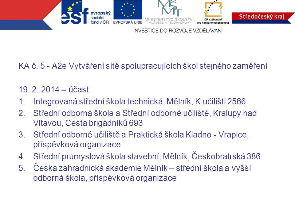 KA č. 5 - A2e Vytváření sítě spolupracujících škol stejného zaměření 19.
