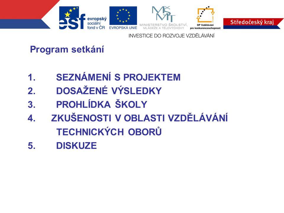1.SEZNÁMENÍ S PROJEKTEM 2.DOSAŽENÉ VÝSLEDKY 3.PROHLÍDKA ŠKOLY 4.