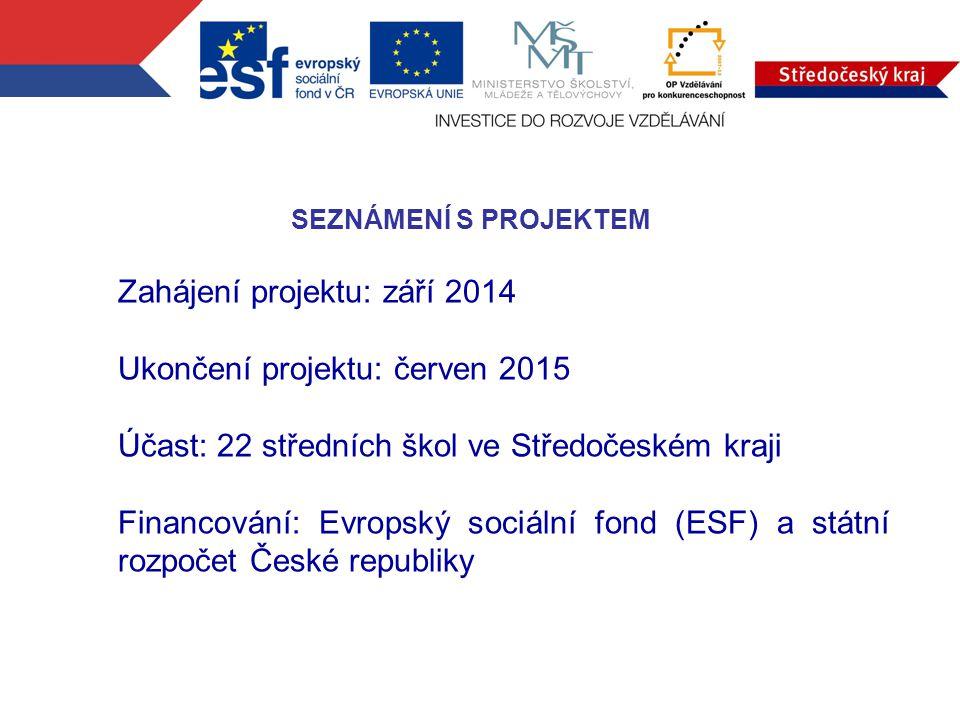 SEZNÁMENÍ S PROJEKTEM Zahájení projektu: září 2014 Ukončení projektu: červen 2015 Účast: 22 středních škol ve Středočeském kraji Financování: Evropský