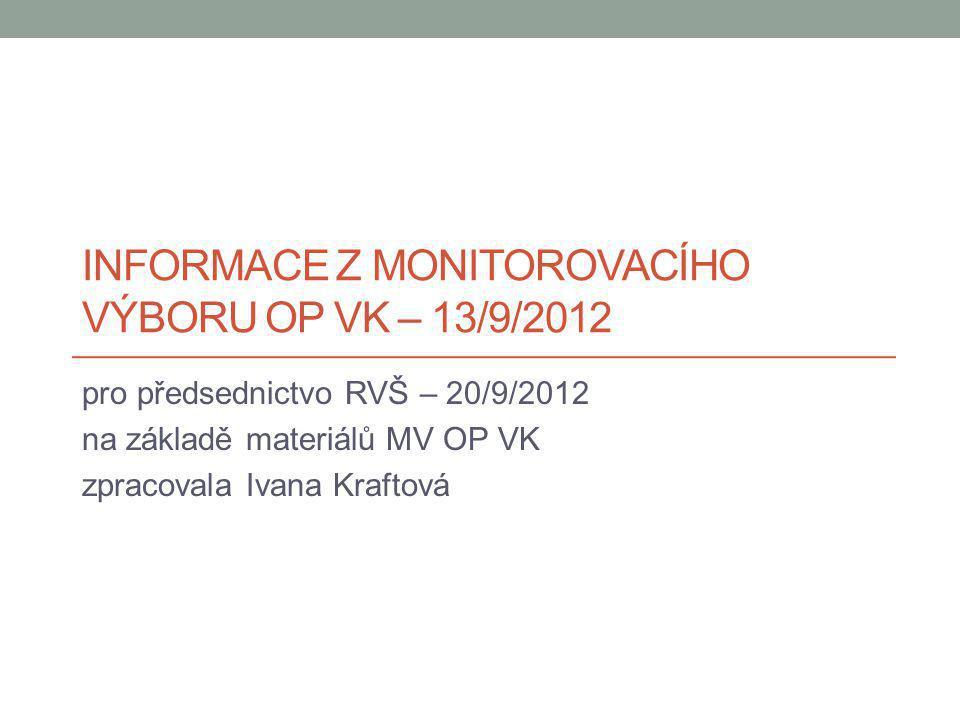 INFORMACE Z MONITOROVACÍHO VÝBORU OP VK – 13/9/2012 pro předsednictvo RVŠ – 20/9/2012 na základě materiálů MV OP VK zpracovala Ivana Kraftová