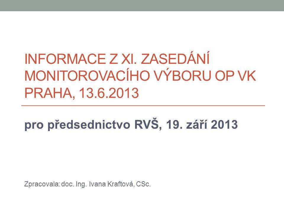 INFORMACE Z XI. ZASEDÁNÍ MONITOROVACÍHO VÝBORU OP VK PRAHA, 13.6.2013 pro předsednictvo RVŠ, 19.