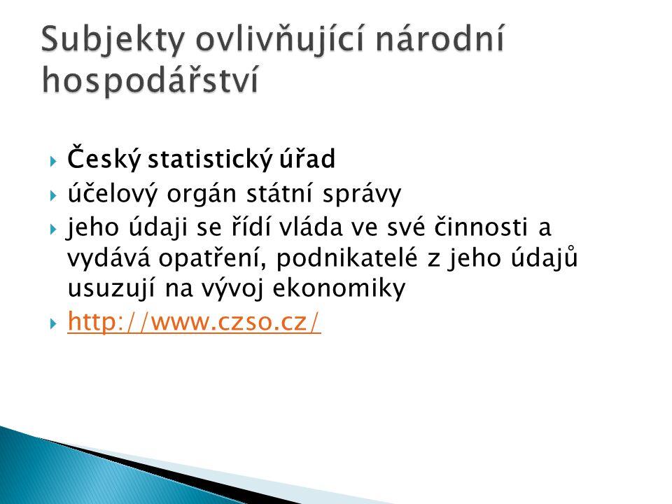  Český statistický úřad  účelový orgán státní správy  jeho údaji se řídí vláda ve své činnosti a vydává opatření, podnikatelé z jeho údajů usuzují