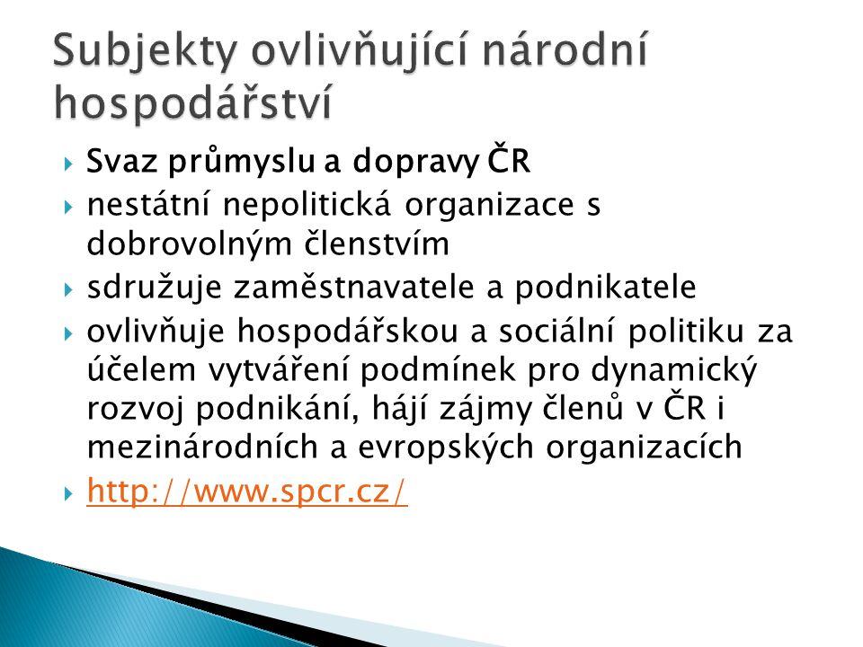  Svaz průmyslu a dopravy ČR  nestátní nepolitická organizace s dobrovolným členstvím  sdružuje zaměstnavatele a podnikatele  ovlivňuje hospodářsko