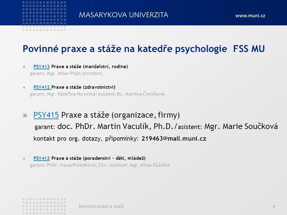 Koncept praxí a stáží4 Povinné praxe a stáže na katedře psychologie FSS MU PSY413 Praxe a stáže (manželství, rodina) garant: Mgr. Milan Pilát/aisisten