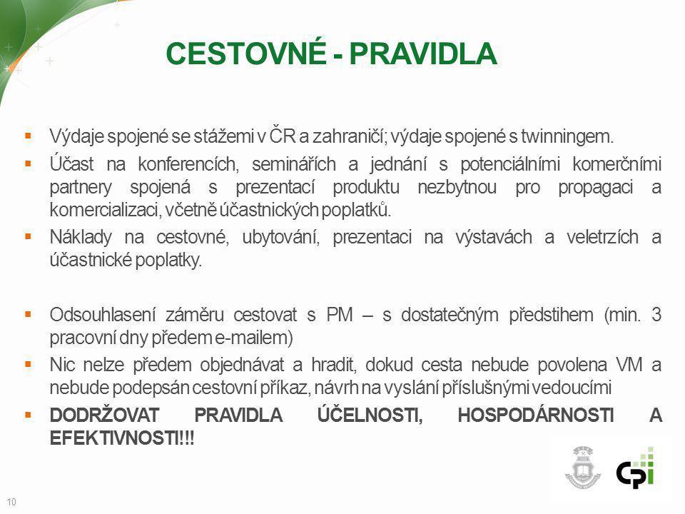 CESTOVNÉ - PRAVIDLA  Výdaje spojené se stážemi v ČR a zahraničí; výdaje spojené s twinningem.  Účast na konferencích, seminářích a jednání s potenci